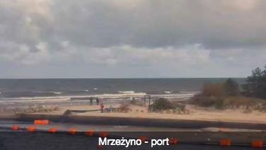Kamera on-line widok na port z nabrzeża wyładunkowego - Zarząd Portu Morskiego Mrzeżyno - strona zewnętrzna